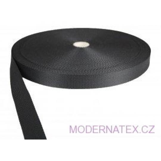 Polypropylénový popruh 25 mm černý (balení 50 m)