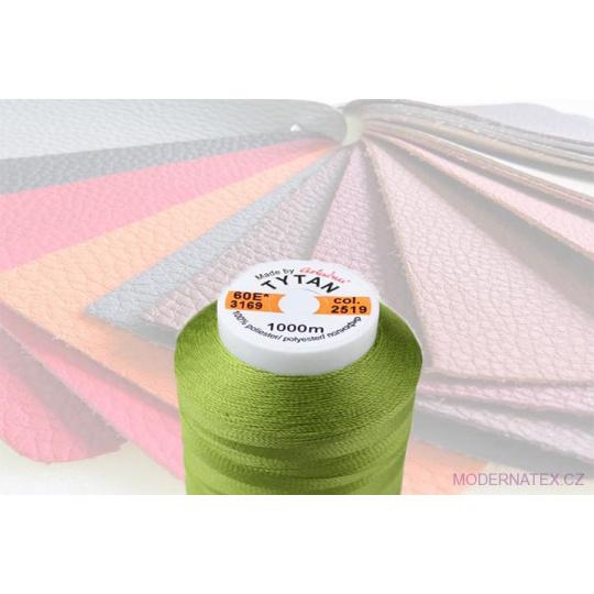 Čalounická šicí nitě TYTAN 60E 1000 m zelené barva 2519