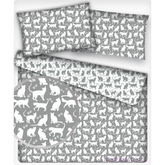 Bavlněné látky vzor KOČKY BÍLÉ na šedém