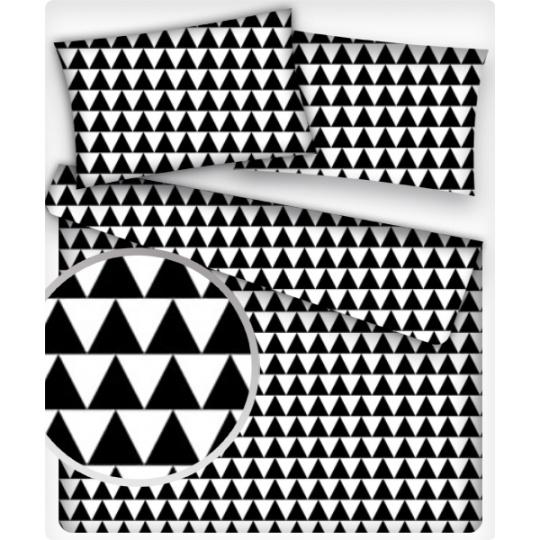 Bavlněné látky vzor Geo Trojúhelníky černé