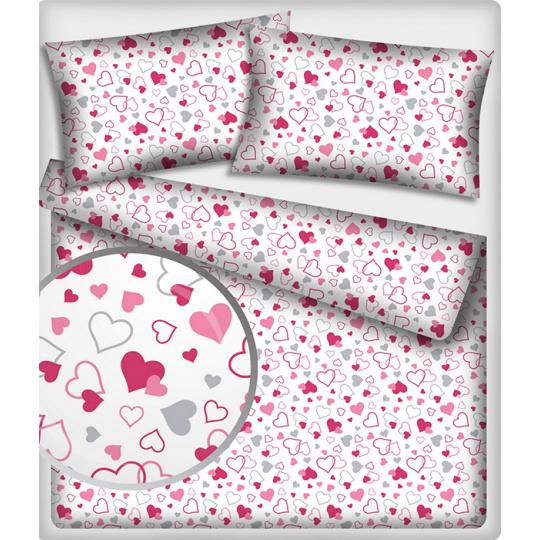 467 Bavlněné látky vzor Valentinky růžový podklad
