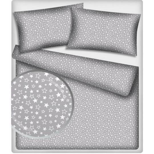 Bavlněné látky vzor 406 Malé hvězdy bílé na šedém