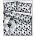 Bavlnená látka vzor trojuholníky šedé a čierne 9 cm, metráž 160 cm