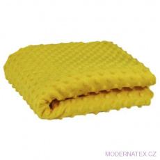 Minky látky mikroplyš puntík  barva hořčice