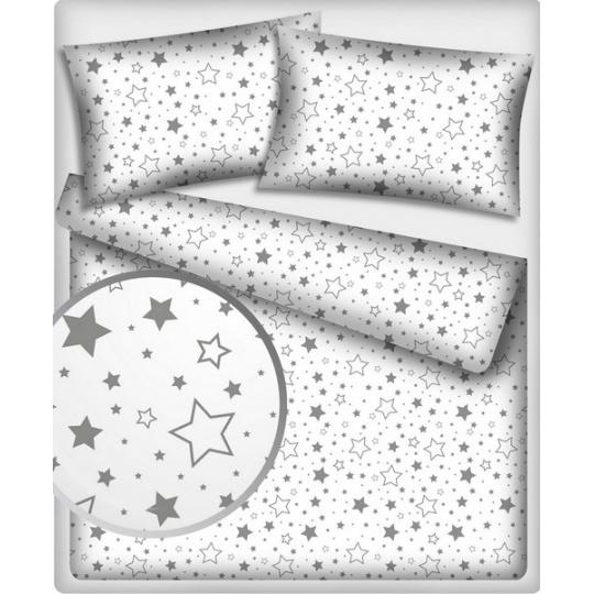 Bavlněné látky 465  hvězdy šedé na bílém pokladu