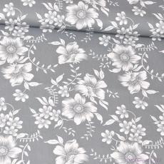 Bavlněné látky Kytičky vzor RIKARDO na šedém