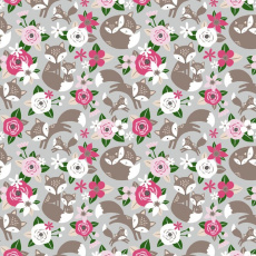 Bavlněné látky vzor kytičky růžové na šedém 508 KT