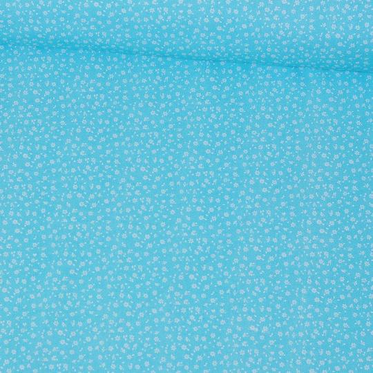 Bavlněné látky mini Kytičky modrý podklad