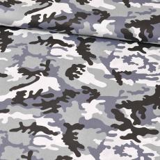 Bavlnená látka vzor moro čierne, šedý podklad, metráž 160 cm