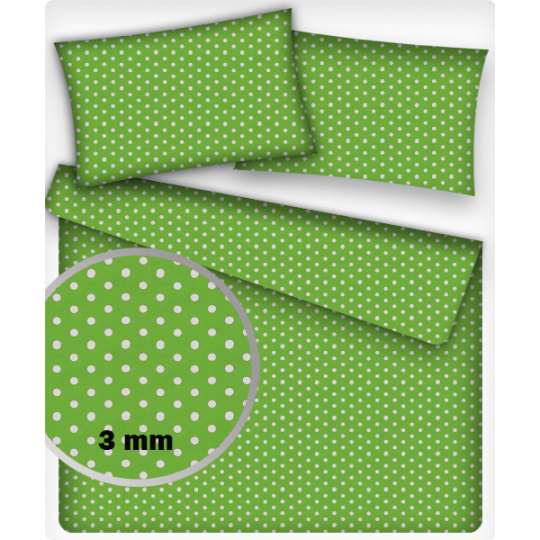 3 mm Bavlněné látky PUNTÍK BÍLÝ na zeleném