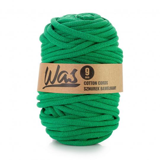 Bavlněná šňůra 9mm, 50m,  barva zelená 220