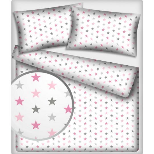 Bavlněné látky vzor 362 Hvězdy multipink na bílém