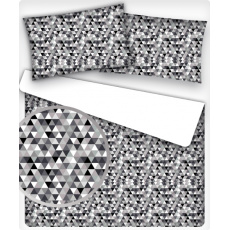 Bavlnená dekoračná látka vzor trojuholníky čierne 2 cm, metráž 160 cm