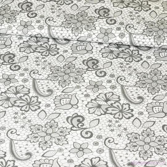 Bavlněné látky Kytičky vzor KRAJKA na bílém