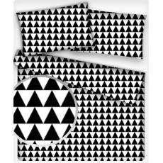 Bavlnená látka vzor geo trojuholníky čierne, metráž 160 cm