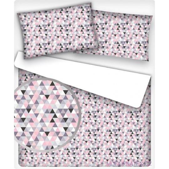 Bavlněné dekorační látky vzor TROJÚHELNÍKY 2cm růžové