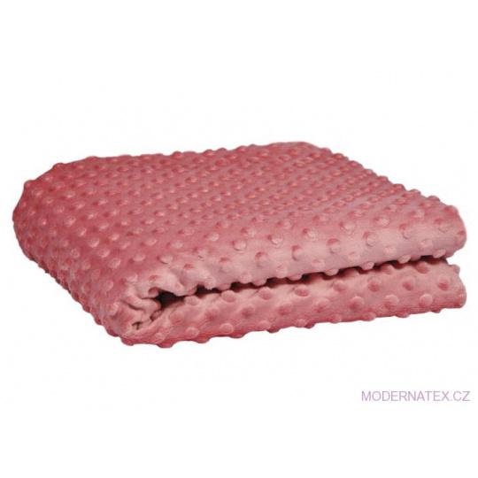 Minky látky mikroplyš puntík  barva růžová 2