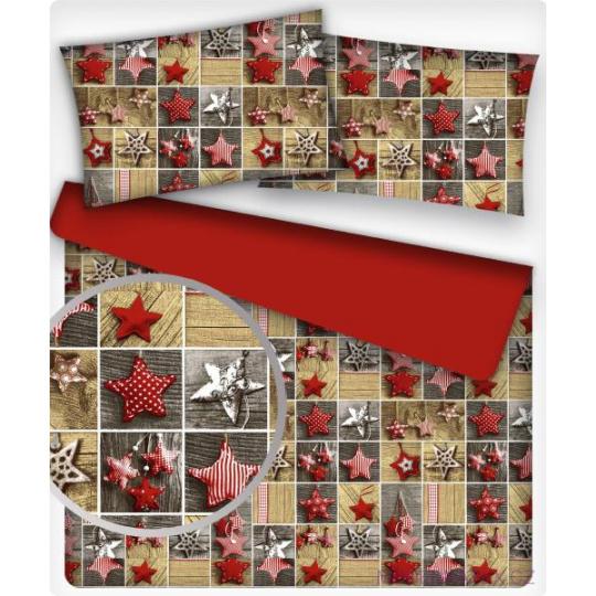 Vánoční dekoráční bavlněné látky vzor VÁNOCE 11 na červeném