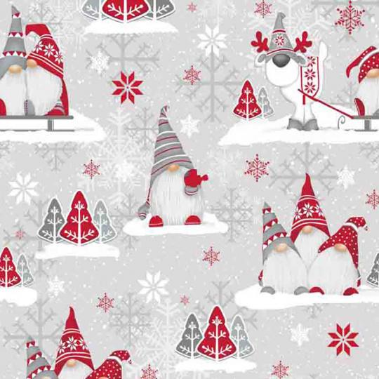 Vianočné dekoračné bavlnené látky, metráž 160 cm, vzor Vianoce 23 farba červená