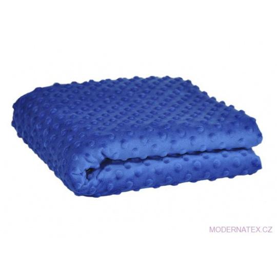 Minky látky mikroplyš puntík  barva modrá