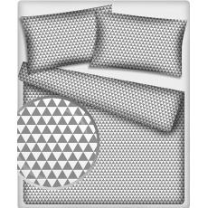 Bavlnená látka vzor trojuholníky šedé, metráž 160 cm