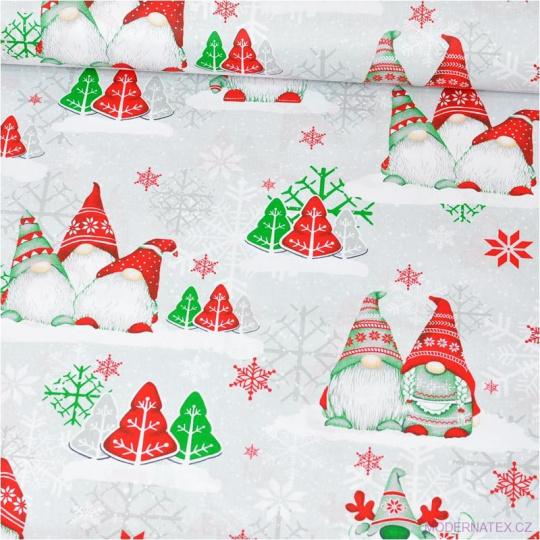 Vánoční vzory bavlněné látky, metráž vzor 1446