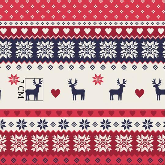 Vánoční vzory bavlněné látky, metráž 012