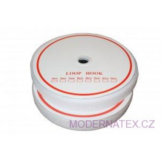 Pásek na suchý zip našívací HÁČEK a SMYČKA SET  bílý 16 mm x 25 bm