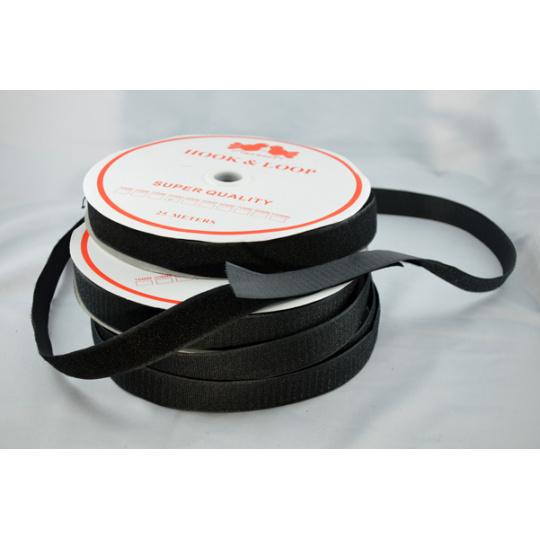 Pásek na suchý zip HÁČEK a SMYČKA SET černý 25 mm balení 25m