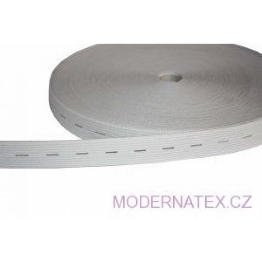 Guma dírkovaná  šíře 20 mm bílá  1 bm
