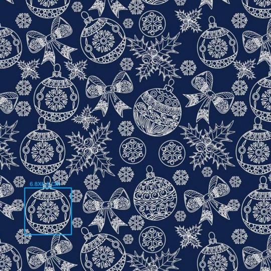 Vánoční dekoráční bavlněné látky vzor VÁNOCE 4 na modrém