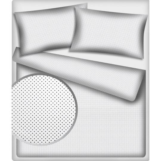 4 mm látka vzor 224  malý puntík šedý, barva bílá