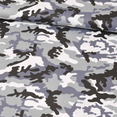 Bavlněné látky MORO  ČERNÉ šedý podklad