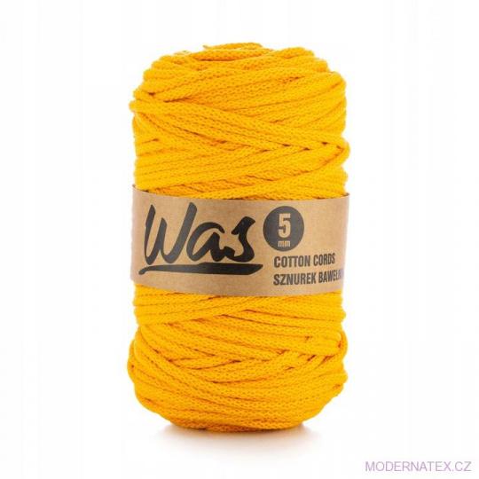 Bavlněná šňůra 5mm, 100m, tmavě žlutá 070