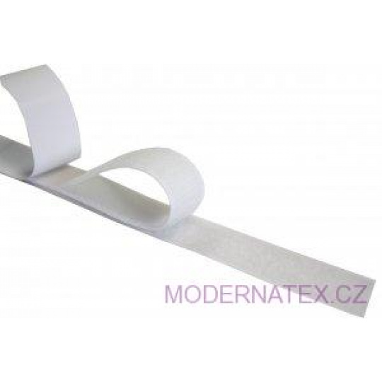 Pásek na suchý zip s lepidlem bílý 25  mm