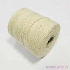 Šnůrka pletená jutová barva bílá 31 m
