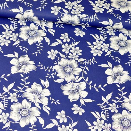 Bavlnená látka vzor kvetiny rikardo 1439 na granátovom podklade, metráž 160 cm
