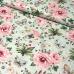 Bavlněné látky vzor kytičky VELKÉ RŮŽOVÉ na zeleném
