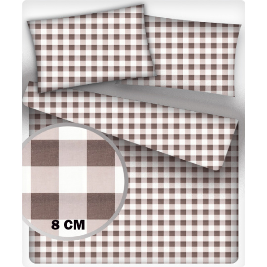 Bavlněné látky vzor KOSTKA HNĚDÁ 8 cm MIX