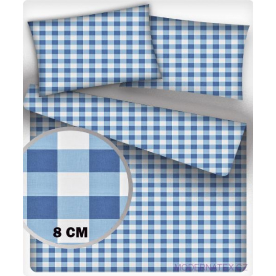 Bavlněné látky vzor KOSTKA MODRÁ 8 cm MIX