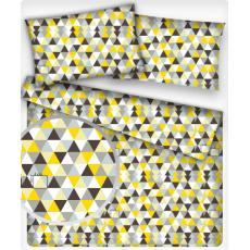 Bavlnená látka vzor trojuholníky žlté a hnedé 4 cm, metráž 160 cm