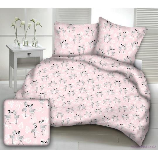 Dětské bavlněné látky vzor PLAMEŇÁK BABY na růžovém