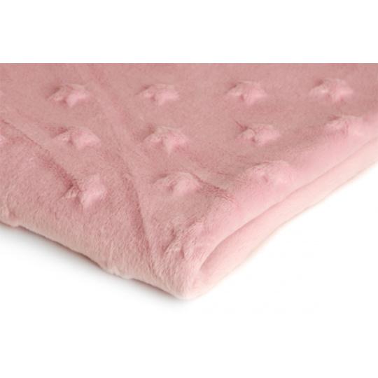 Látky mikroplyš hvězdy MINKY barva růžová 19