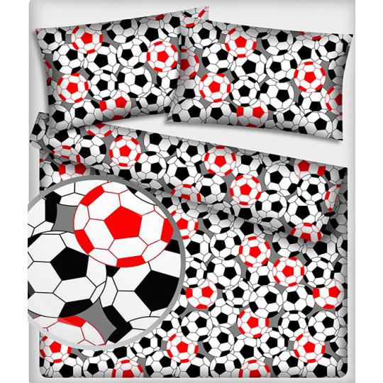 484 Bavlněné látky vzor Football barva červená