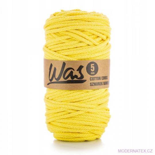 Bavlněná šňůra 5mm, 100m, světle žlutá 060
