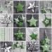 Vánoční dekorační bavlněné látky vzor VÁNOCE 47  barva zelená