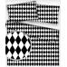 Bavlnená látka vzor geo ornament čierny, metráž 160 cm