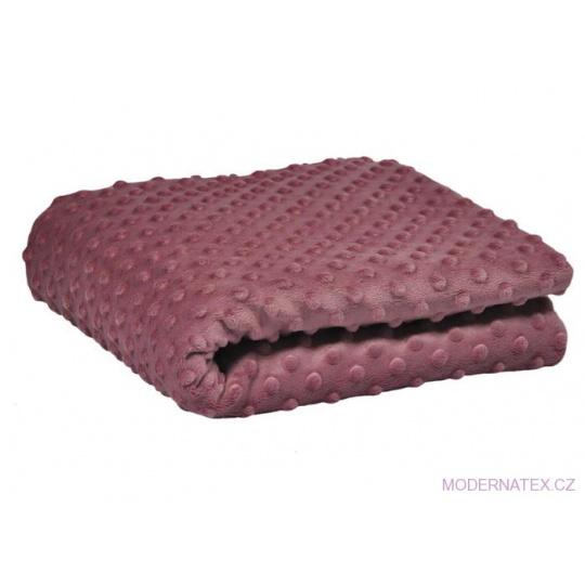Minky látky mikroplyš puntík  barva staro-růžová