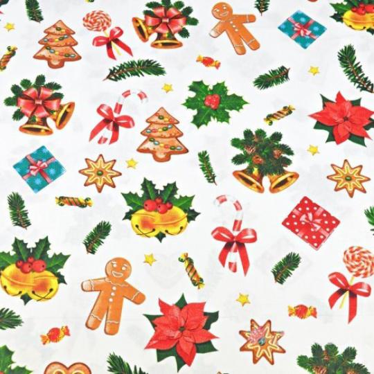 Vianočné vzory bavlnenej látky, metráž 160 cm, vzor 3381C