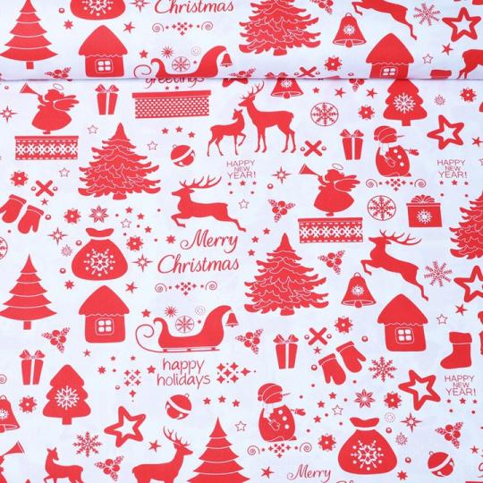 Vánoční vzory červené bavlněné látky, metráž 752